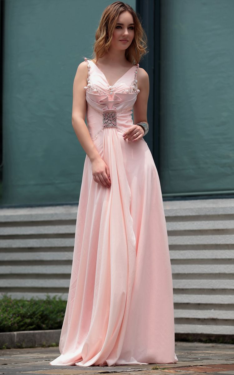 Pink Sexy V-neck Beaded Floor Length Gowns Evening Dress | Evening ...