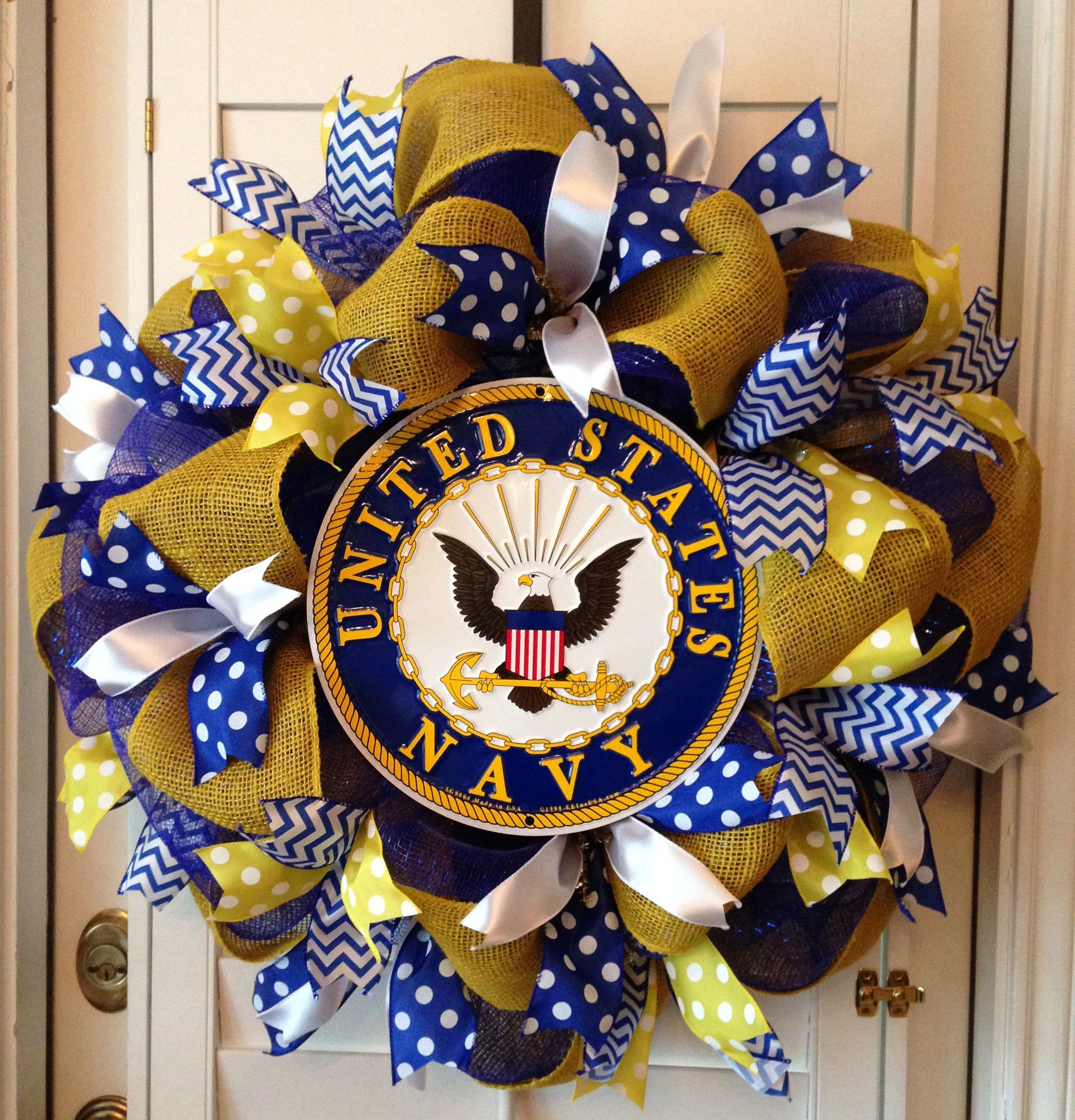 United States Navy Deco Mesh Wreath Blue Gold White Military