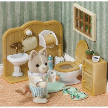 Sylvanian Families Had This Bathroom Set But In My Own Dolls House Sylvanian Families Calico Critters Families Sylvania Families