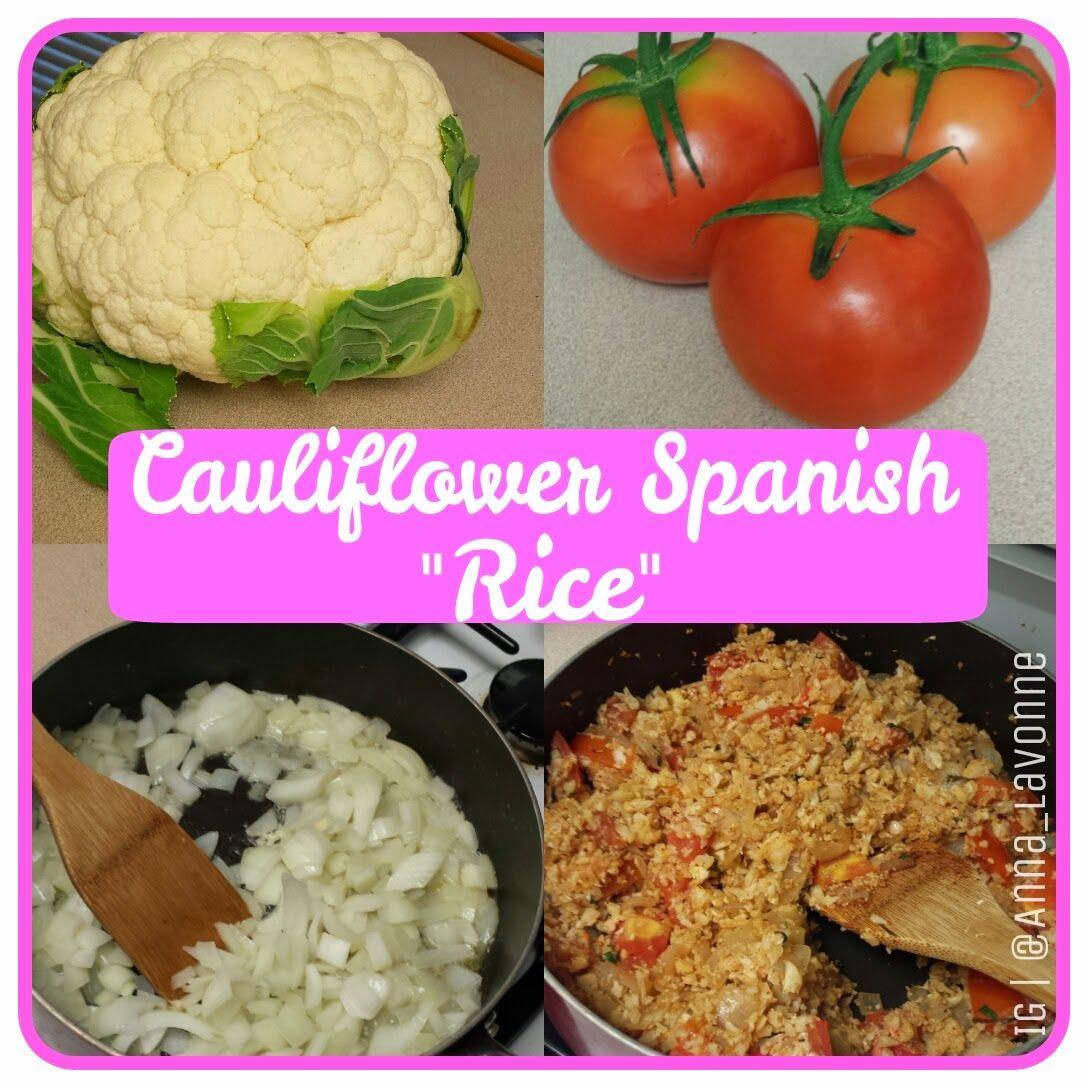 "Cauliflower Spanish ""Rice"". Grain free, gluten free, dairy free cauliflower rice. Paleo Spanish Rice   http://glamlegacyfit.blogspot.com/2014/05/how-to-make-cauliflower-spanish-rice.html"