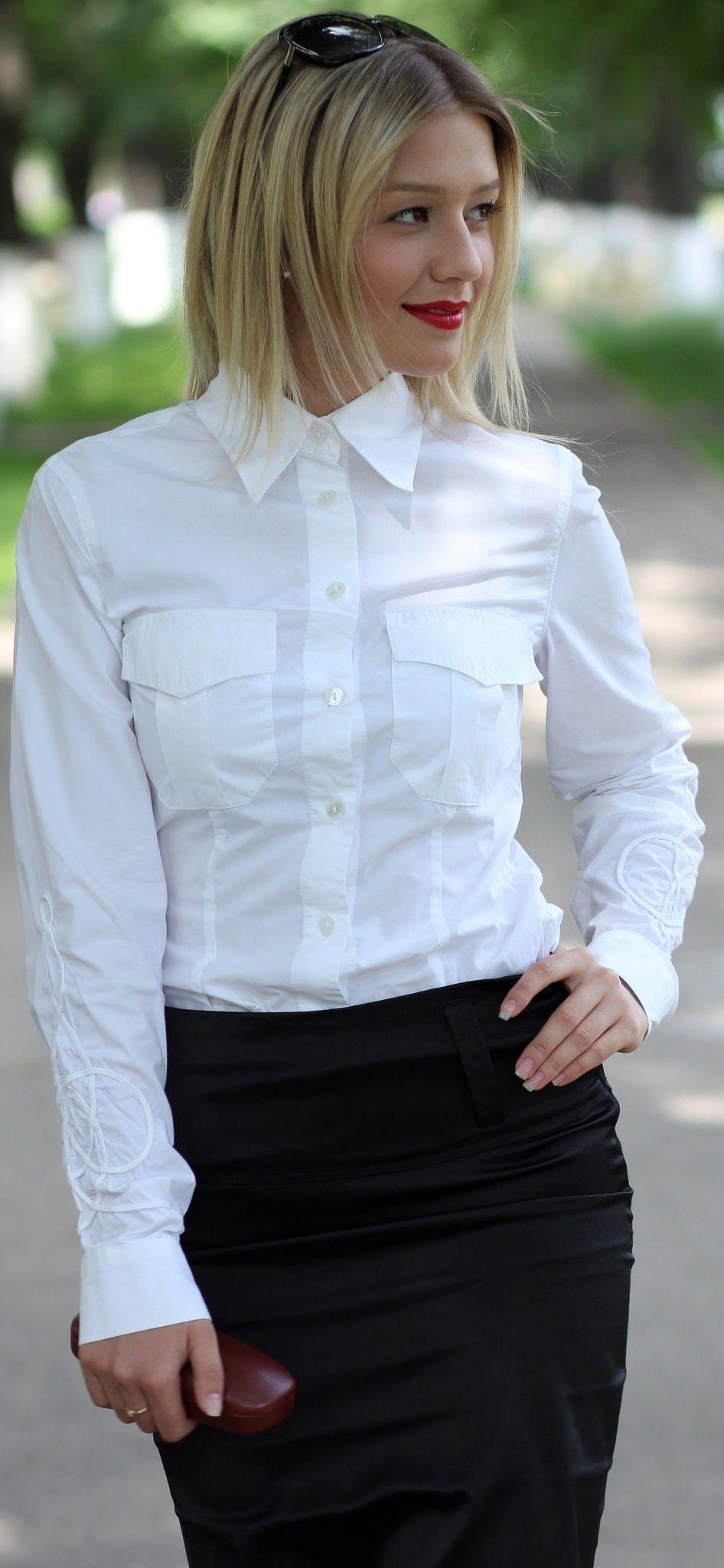 01149a317b21 Woman Shirt, Girls Wear, Collar Shirts, Collars, White Blouses, Button Up
