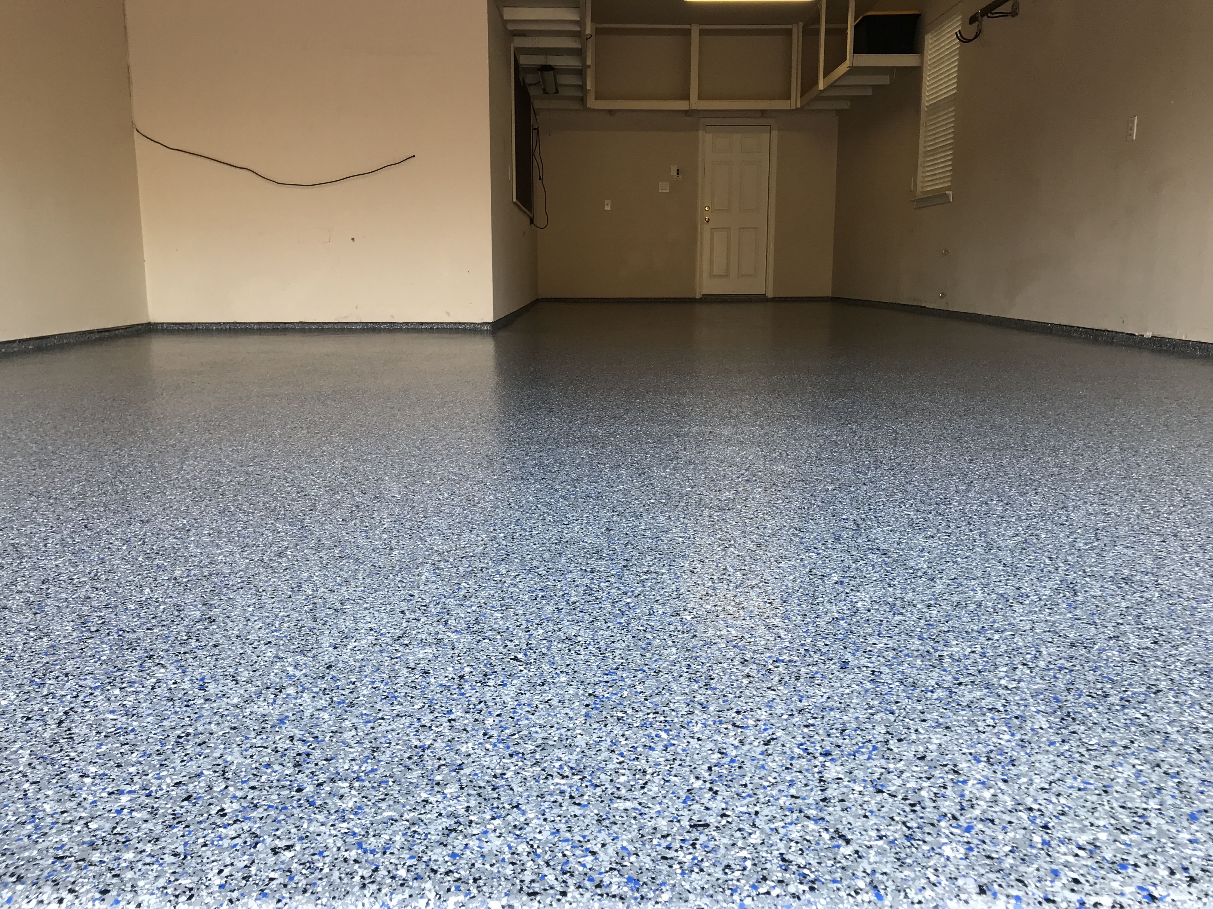 Classic Marble W White And Blue Done In Frisco Texas Polyaspartic Floorpaint Garagefloor Flooring Contractor Garage Floor Garage Floor Coatings