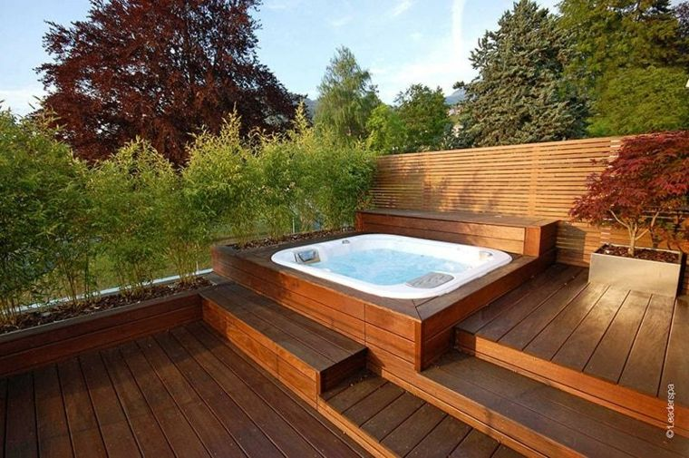 Jacuzzi Exterior Ideas Para Ubicarlo En El Jardin Jacuzzi Garten Whirlpool Im Freien Whirlpool Garten