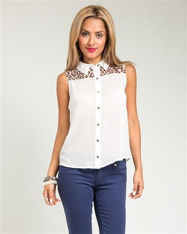 Ivory Tiger Print Sleeveless Collar Top – Becky's Fashion Boutique