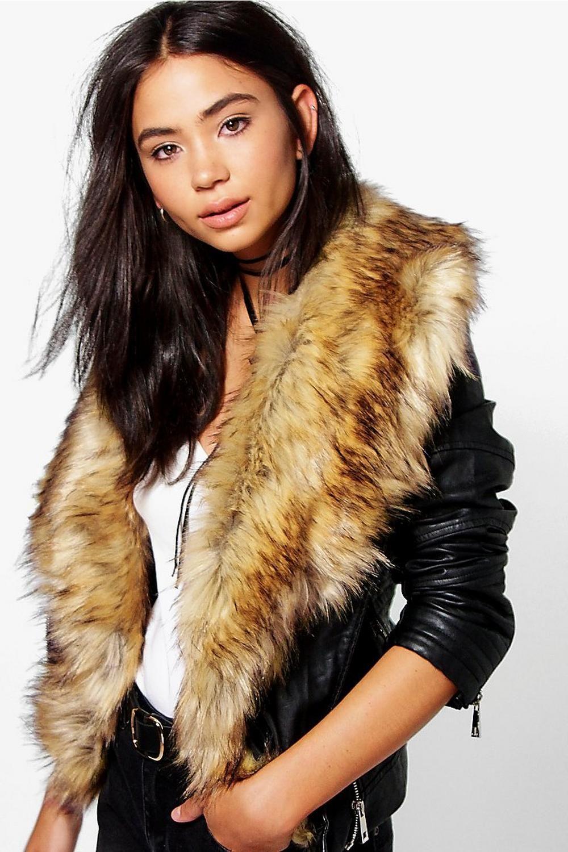 Saskia Boutique Faux Fur Trim Biker Jacket | Fur trim