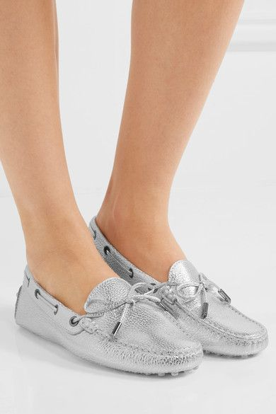 1347275b940 Tod s - Gommino Metallic Textured-leather Loafers - Silver ...