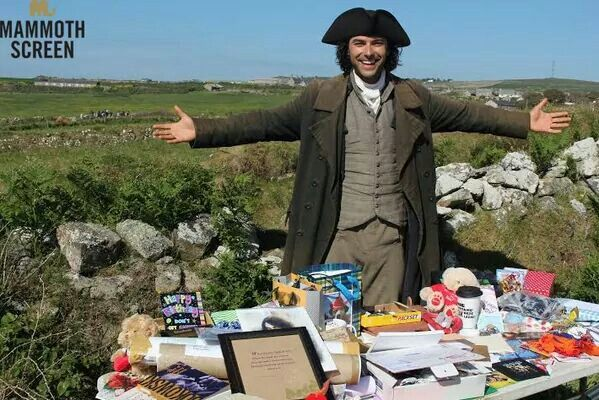Aidan with his birthday gifts - earlier this summer on the Poldark set, Aidan was showered with fandom love for his birthday! <3