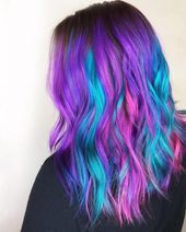 Image Of Galaxy Vibrations Color Creative Hairstyle Beauty