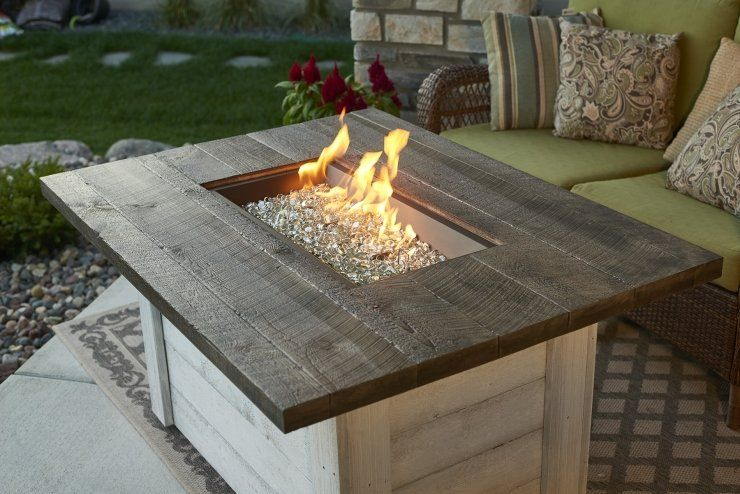Alcott rectangular gas fire pit table with images gas