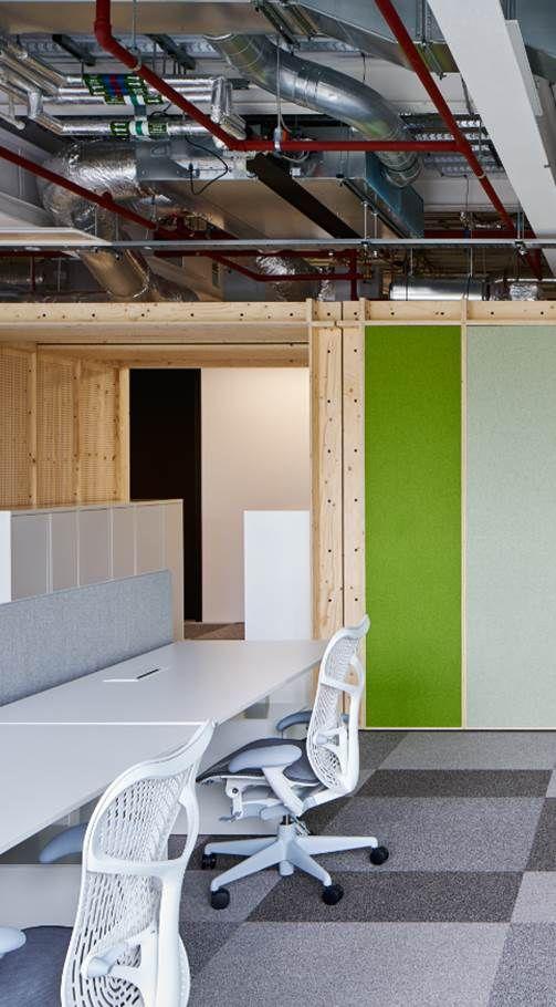 Open work ceiling above custom-made Jack Rooms, Google