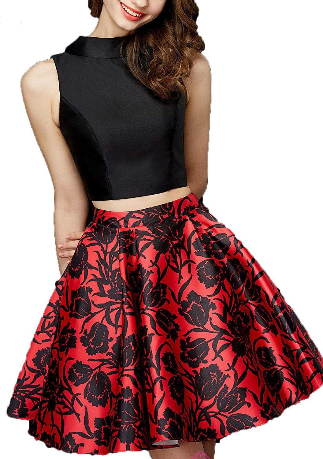 Angelalove printing floral short two pieces lace long sleeve prom