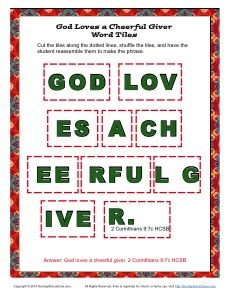 God Loves a Cheerful Giver Word Tiles | Paul Wrote About Giving