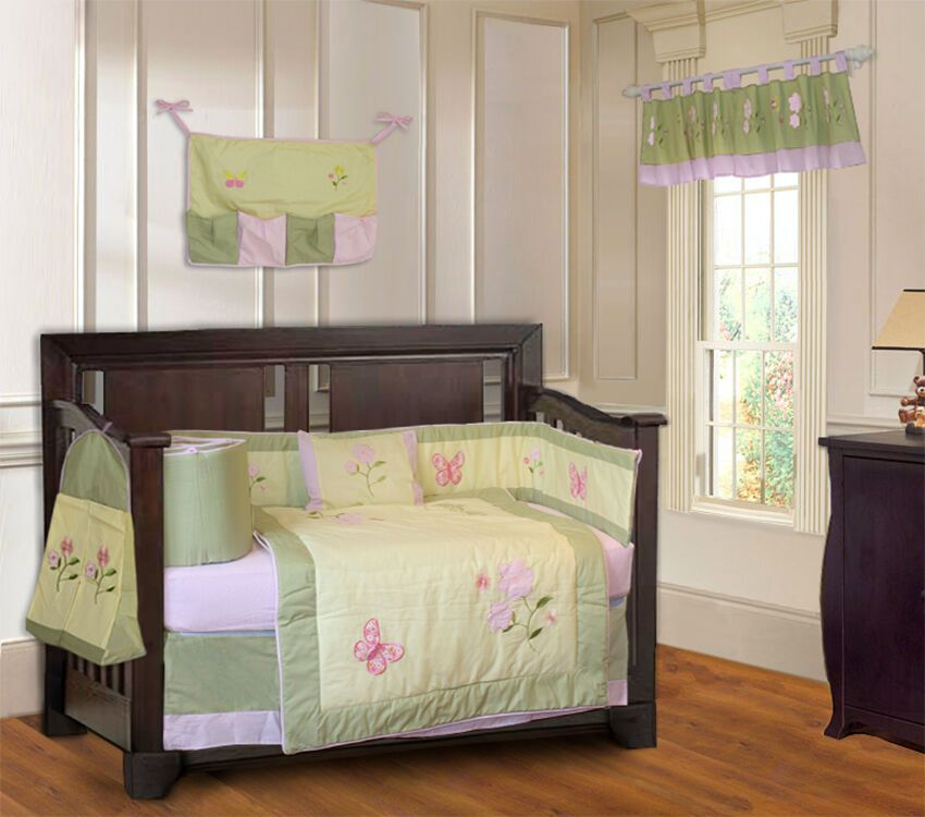 BabyFad Daisy Butterfly 10 Piece Baby Girl Crib Bedding
