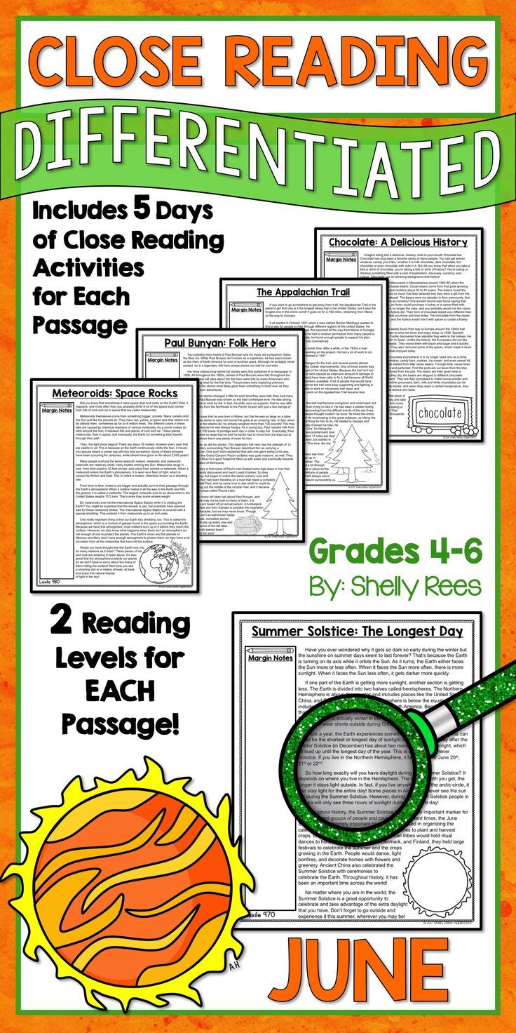 Reading Comprehension Passages And Questions June Close Reading Bundle Close Reading Reading Comprehension Passages Differentiated Reading Passages [ 1472 x 736 Pixel ]