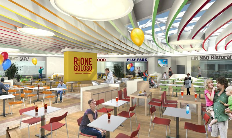 """Render restyling food court and business area """"Shopping centre Auchan Cesano Boscone"""" Italy by Tecnostudio"""