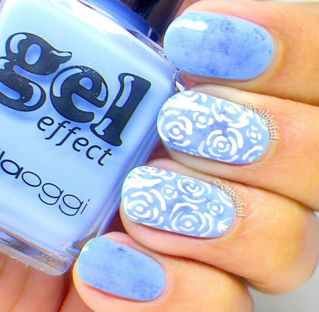 Roses and Saran Wrap nails