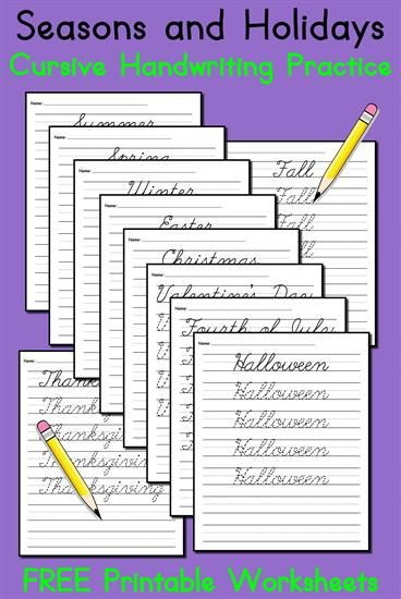 10 Free Seasons And Holidays Cursive Handwriting Worksheets In 2018