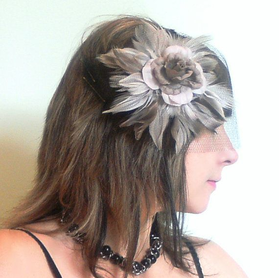 Flower and Feather Fascinator Head Piece Hair by NautilusJAP, $32.99
