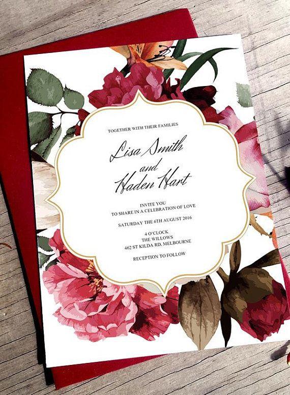 Burgundy Wedding Marsala Invitation Boho Chic Wedding Burgundy Invitations  Fall Wedding Invite Marsala Burgundy Boho Wedding Invite