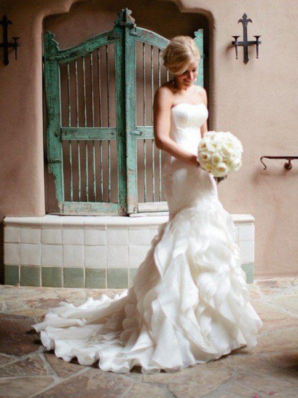 Mermaid Sweetheart Satin White Long Wedding Dresse