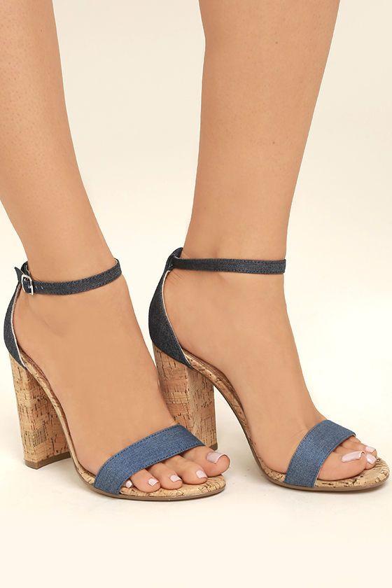 73a416e5d9be Steve Madden Carson C Denim Cork Ankle Strap Heels