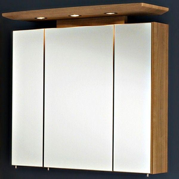 Armoires en miroir avec du bois d éclairage sdb