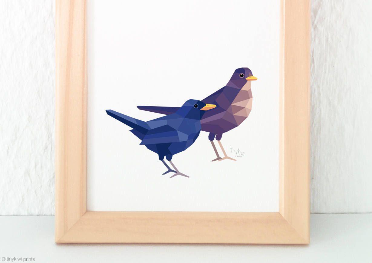 Blackbird pair painting, Blackbird print, Songbirds, Garden animals ...