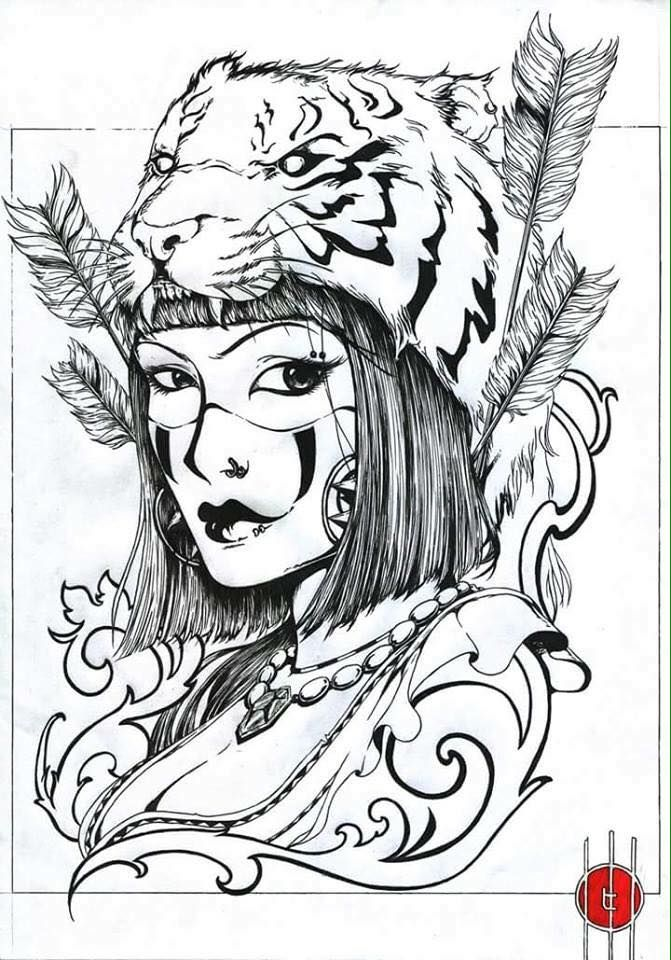 Tiger Head Girl Tattoo Design Tiger Stripe Tattoo Tiger Tattoo Sleeve Tiger Face Tattoo