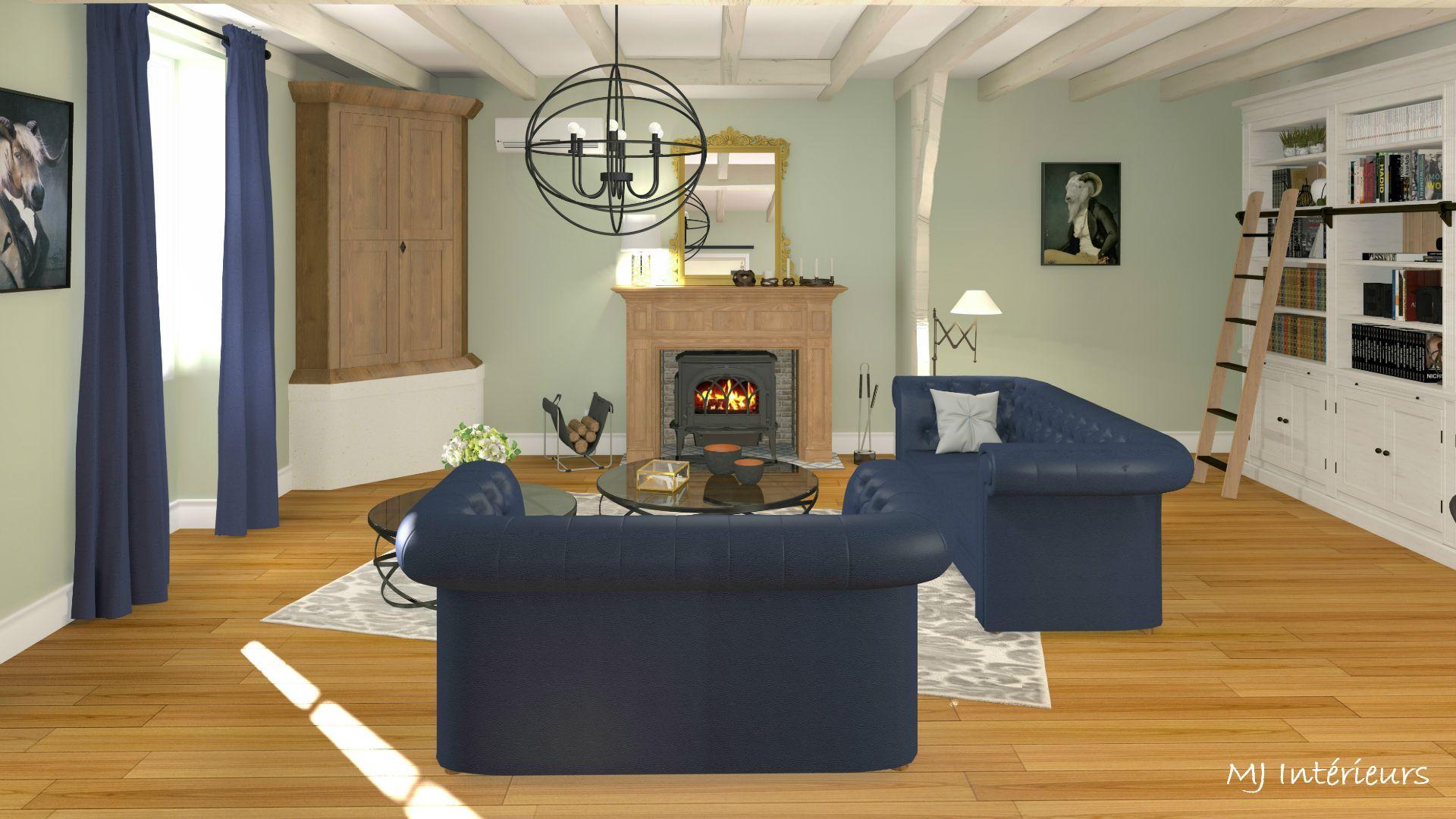 Home Staging Virtuel D Une Maison Charentaise Le Salon Melange Des Styles Classique Campagne Chic Et Desi Decoration Interieure Salle De Sejour Idee Chambre