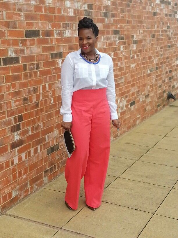Coral Red High waist pants by 3°DB