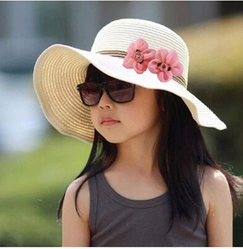 d81bc417fc5 Flower floppy sun hats for kids UV protection beach straw hat