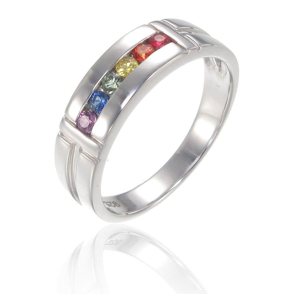 Manly rainbow wedding ring gaywedding pride ring lgbt rainbow