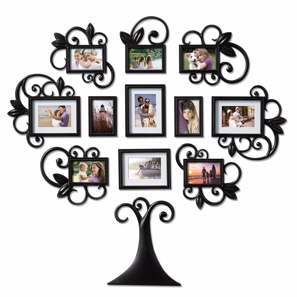 12 Piece Family Tree Photo Picture Frame Collage Set Black Wall Art Home Decor Family Tree Wall Art Family Tree Photo Frame Framed Photo Collage