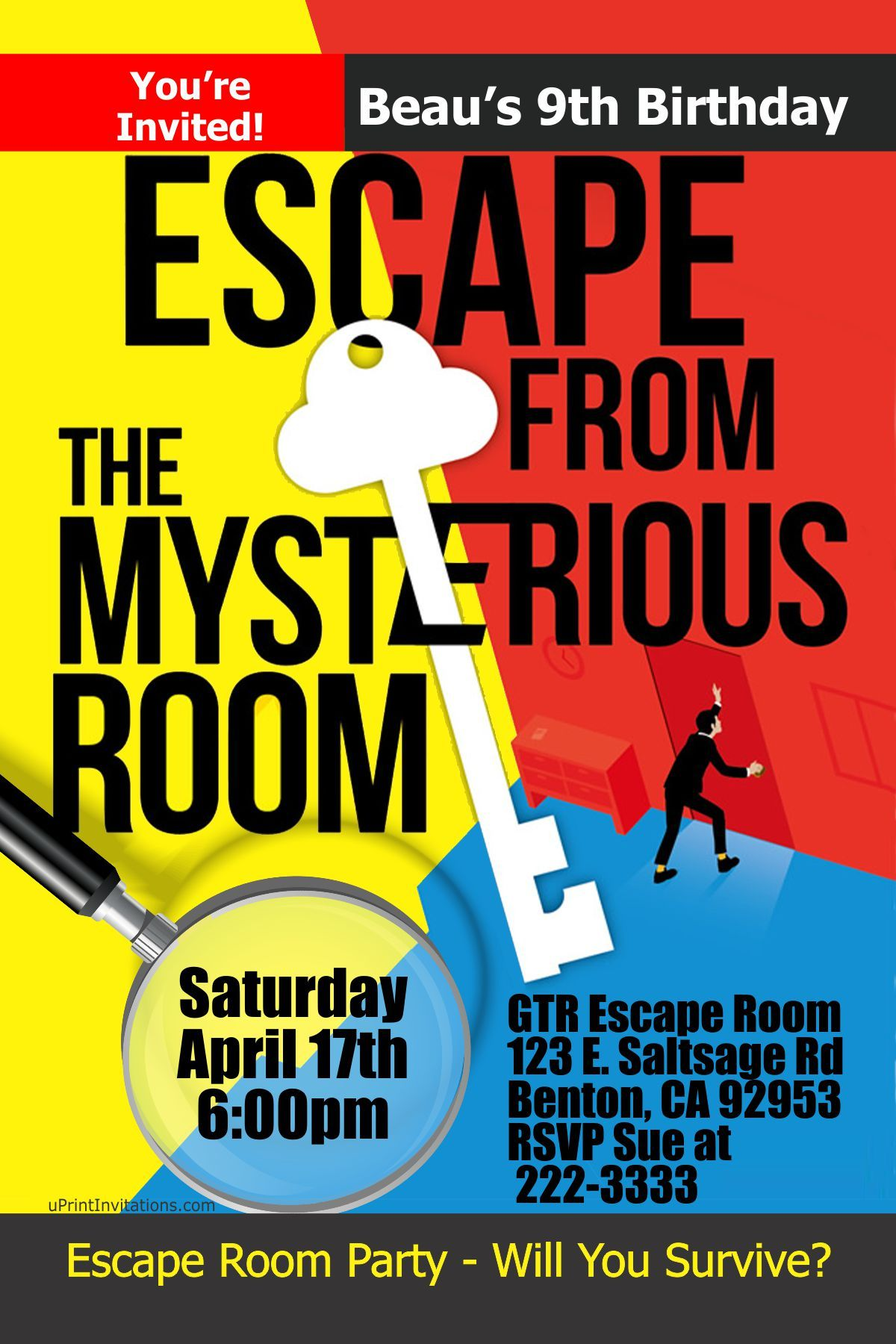Escape Room Party Birthday Invitations- Digital Download - Get these ...