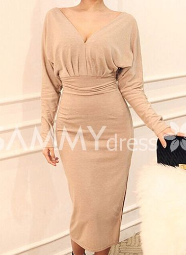 Solid Color Backless Furcal Sexy Plunging Neck Long Sleeve Women's Dress $10.09