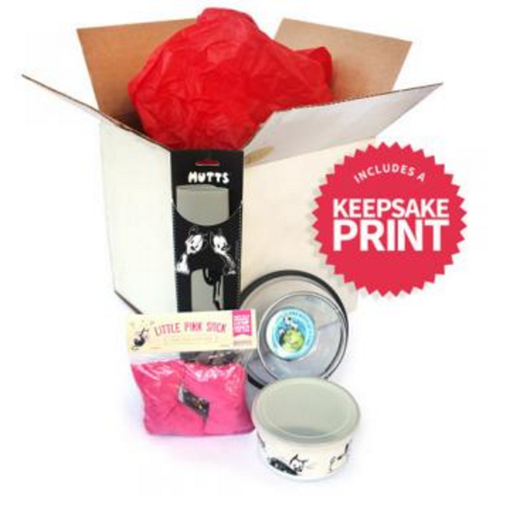 This holiday season, spoil your favorite feline — and the #kitty guardian, too. Our #MUTTS box arrives with special foil #stickers and red tissue packaging. Open the box to reveal our mini keepsake #print, along with a small silicone mat and customizable #bowl for mealtime #treats. Also included is our small enamel canister with silicone lid and immensely popular Little Pink Sock #organic #catnip toys.