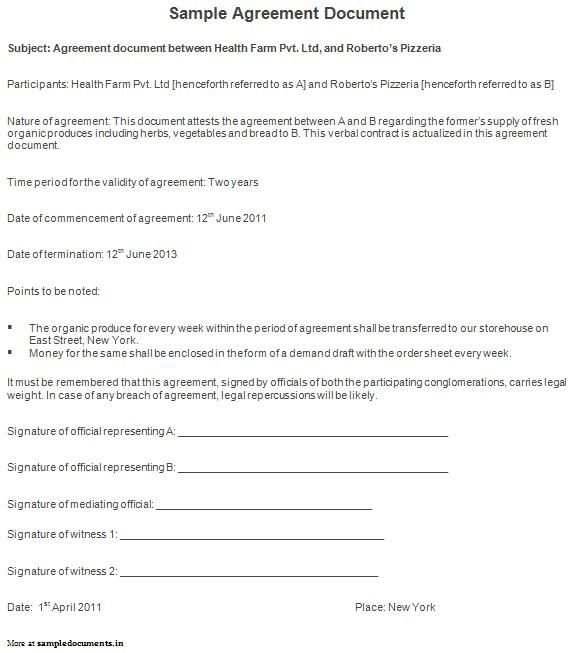 Sample Agreement Document  Agreement Documents