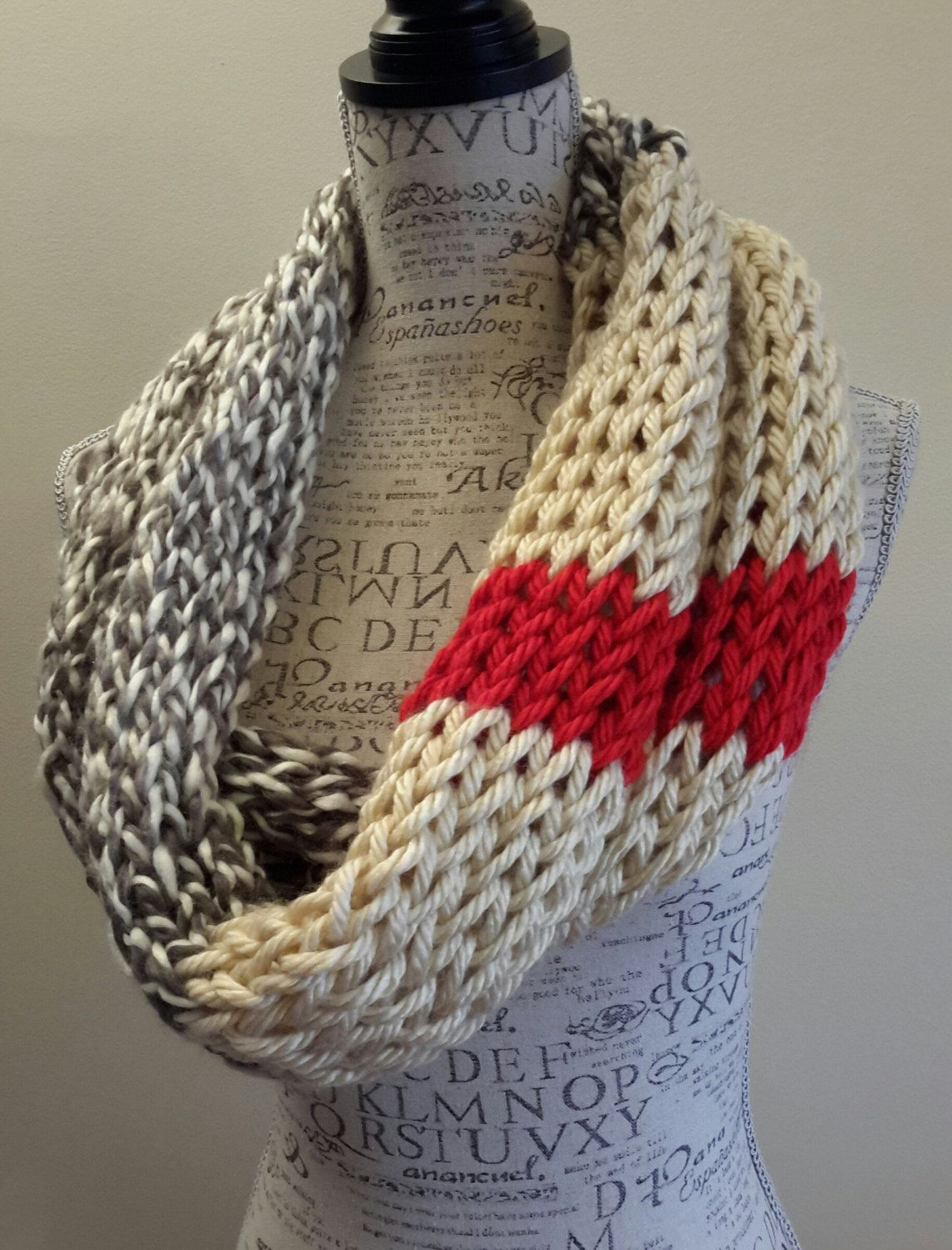 Knit sock monkey color scarf. gray, soft white and red scarf. Made ...