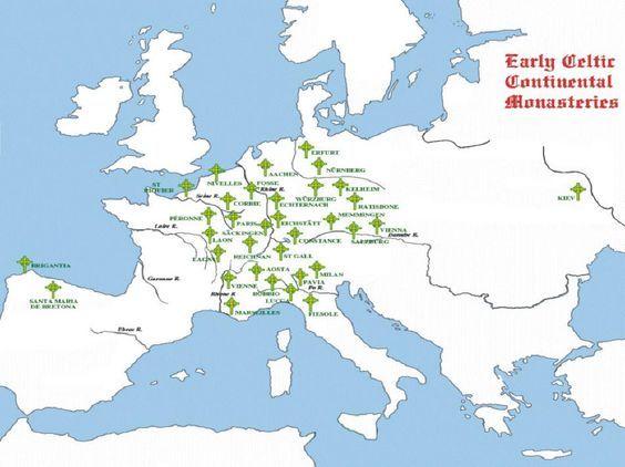 Irish Monasteries in Europe maps