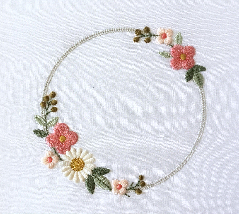 Machine Embroidery Design Dainty Floral Wreath Boho Flower