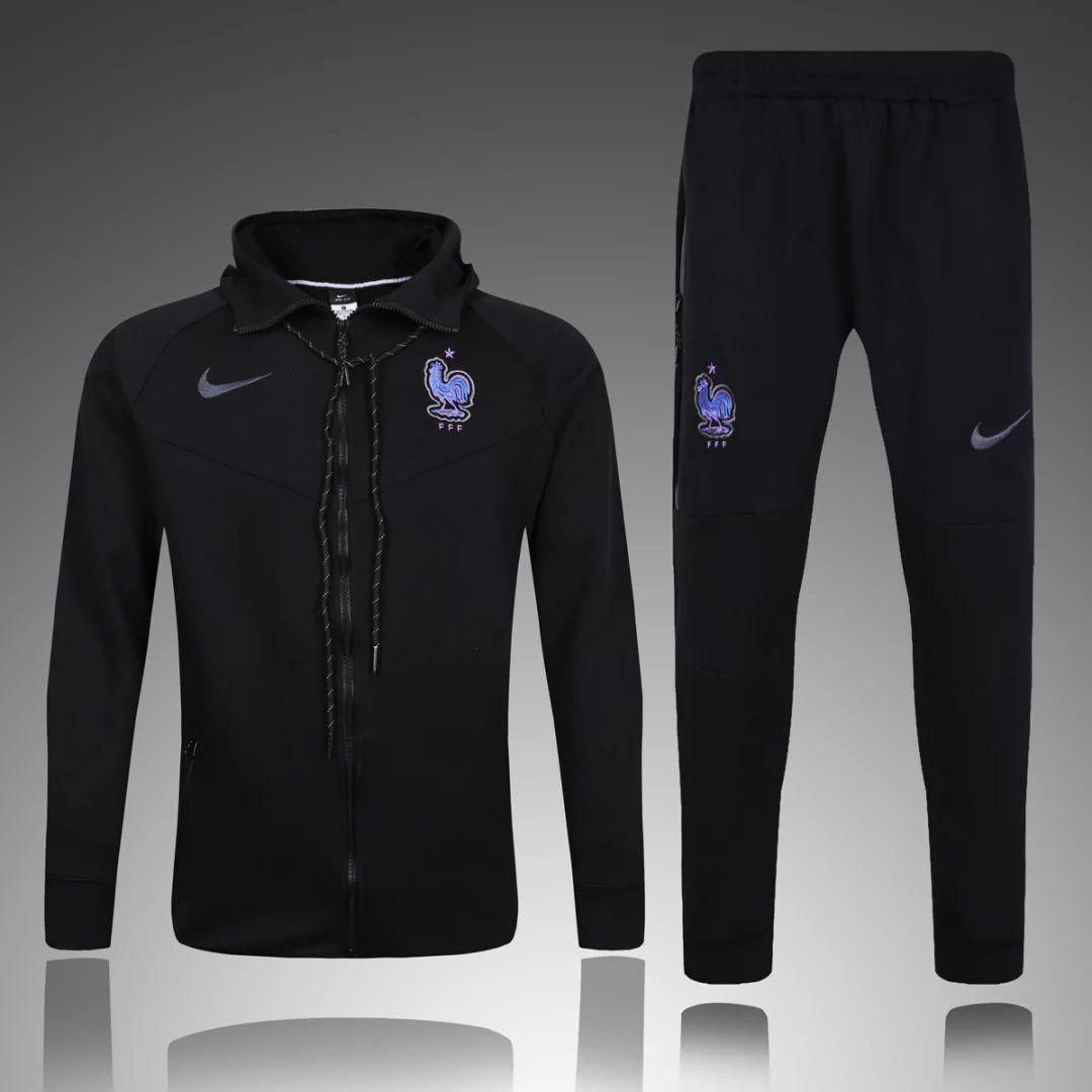 France 2016/17 Men Hoodie Black Training Jacket Sweater