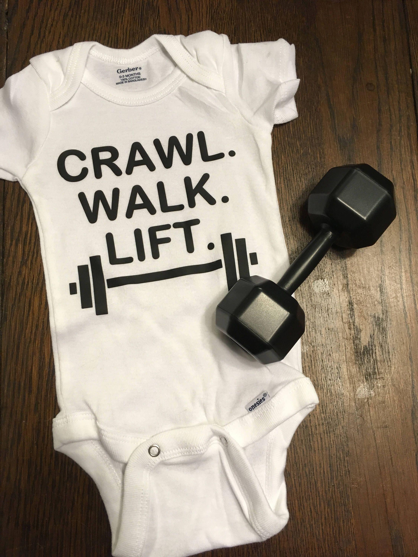 7b20cb77d Custom baby onesies-Crawl Walk Lift-Fitness Onesie-Bottle of house  white-Pumpkin Spice onesie- by AyersEmbroideryVinyl on Etsy