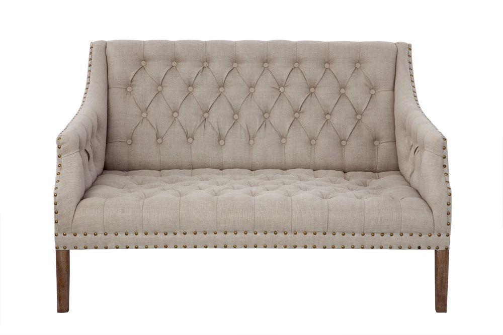Studded linen sofa natural linen willywags pinterest for Studded sofa