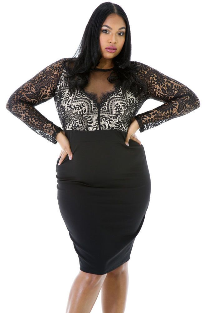 a2e978302a4c Plus Size Women's Clothing 3X 5X Eyelash Lace Long Sleeve Mesh Illusion  Dress