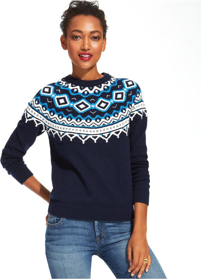 Tommy Hilfiger Fair-Isle Crew-Neck Sweater #blue | Blue Christmas ...
