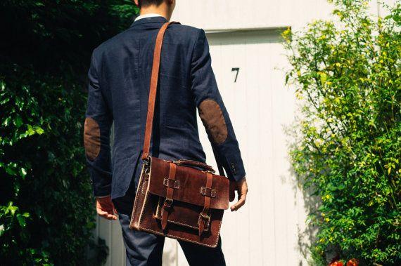 Leather Messenger Bag, 13