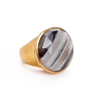 Faceted agate vermeil ring