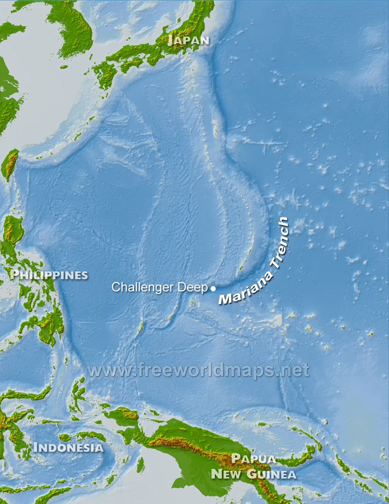 Mariana Trench The Deepest Depths Mariana Trench Pacific Ocean - Pacific ocean depth map