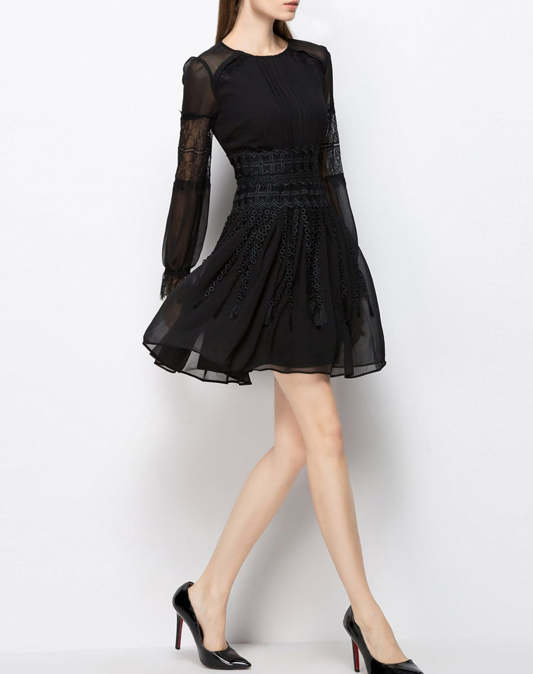Appealing long sleeve simple chiffon mini dress black yi pin wan