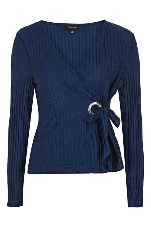 Pleated D-ring Wrap Top